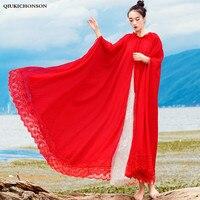 Vintage Ladies Chiffon Cape Tops Plus Size Women Bohemian Style Cute Fairy Lace Patchwork Red Blouse Long Maxi Summer Cardigans