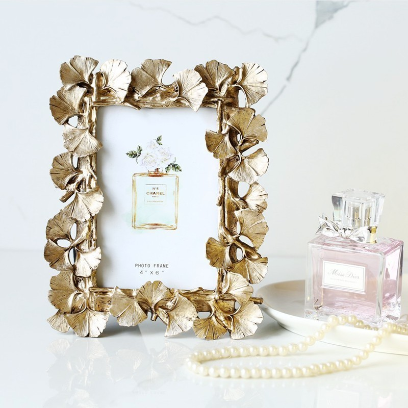 Vintage Gold Ginkgo Leaves 6 Inch Wedding Photo Frame Home Accessories Decoration Decorative Picture Frame Wall