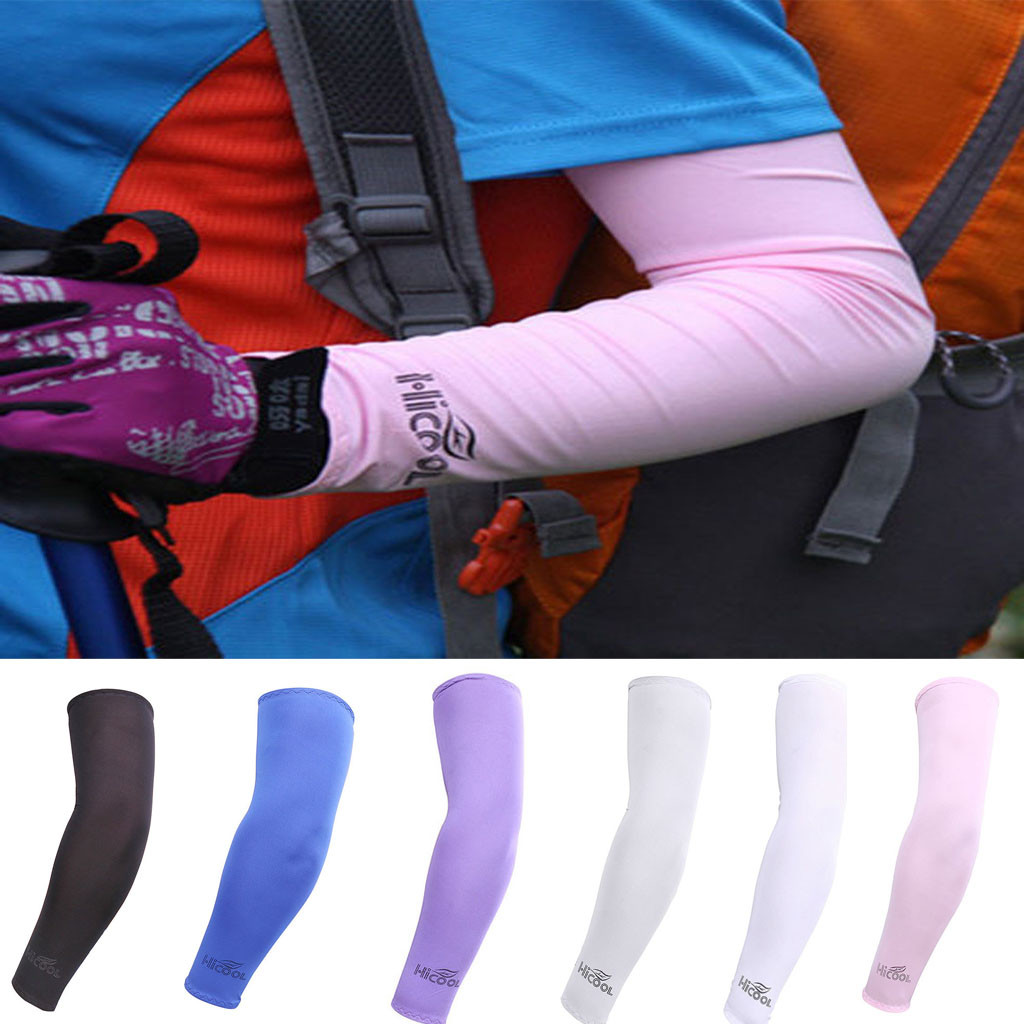 1x Pair Arm Sleeves Motorcycle UV Cover Sun Protection Cooling Basketball Sports