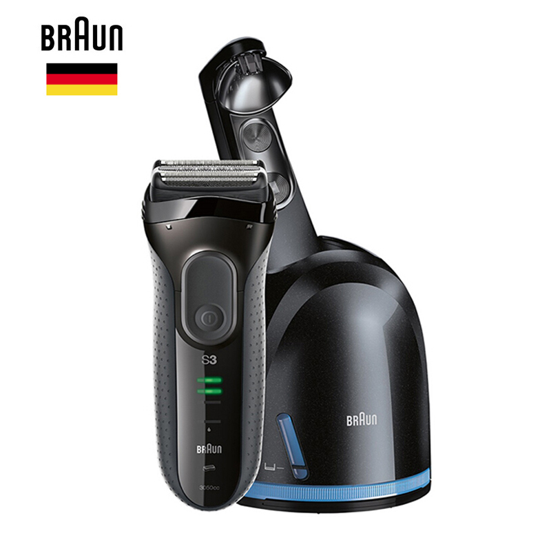Braun Electric Shaver Series 3 ProSkin 3050cc Rechargeable Razor For Men Beard Shaving Machine With Clean & Charge System,Black