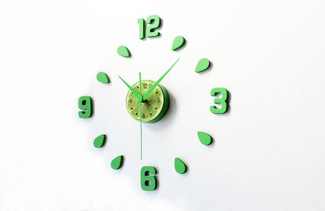 New Arrival Green Lemon Design sticker EVA 30CM-60CM kitchen wall clock colour large decorative 3d diy wall clock big