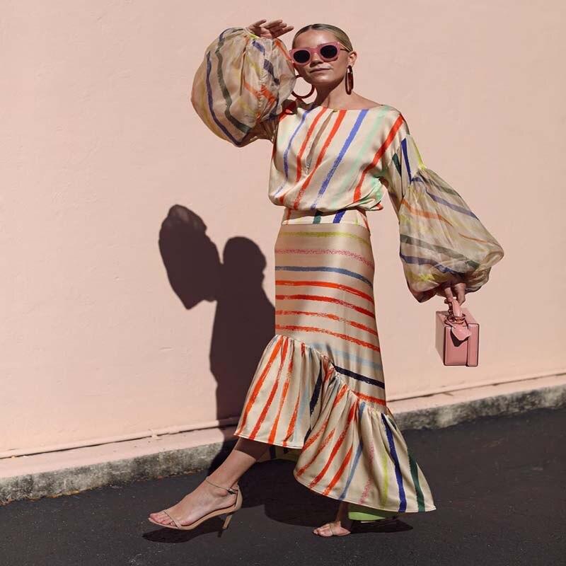 2019 printemps été Lanter manches rayé imprimé robe tempérament irrégulière volants conception Unique Maxi robe Boho plage