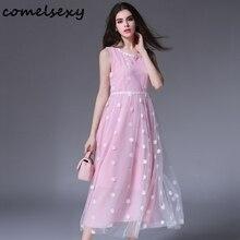 Vente bule/rose en mousseline de soie d'été dress 2017 nouvelle mode, plus la taille vestidos de soirée élégante parti casual robes robe de femme