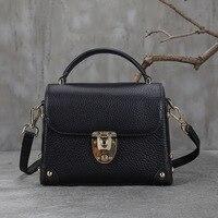 new 2017 Vintage Leather Handbag Shoulder Satchel small Baotou cowhide small bag genuine leather cow bags