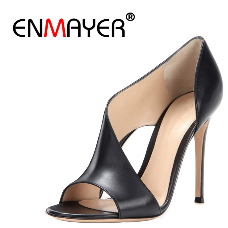 ENMAYER 2018 New Fashion spring Rome style hollowed out women's sexy sandals high heels Sandals luxury Leather women shoes CR212 themost sexy fish mouth hollowed out roman sandals fashion foreign trade european and american style four colors can be selected