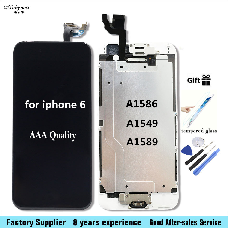 For iPhone 6 6s + LCD Full Assembly Touch Screen Display for iphone 6 6s plus Front Camera+Home Button+Tempered Glass+Tool set