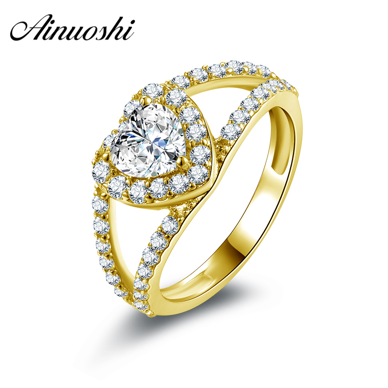 AINUOSHI 10k Solid Yellow Gold Wedding Rings Heart Shape Cubic Zirconia Halo Bijoux Femme Band Unique Design Women Wedding RingsAINUOSHI 10k Solid Yellow Gold Wedding Rings Heart Shape Cubic Zirconia Halo Bijoux Femme Band Unique Design Women Wedding Rings