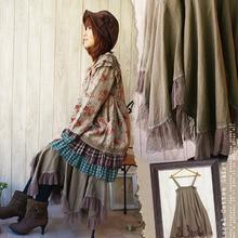 Милые хлопковые юбки в стиле Лолиты; туника в стиле бохо; одежда в винтажном стиле Mori Girl; асимметричная феи с кружевным подолом; юбка принцессы; Saia
