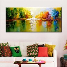 Hand Painted Modern Abstract Landscape On Thick Canvas Oil Painting Home Wall Decoration