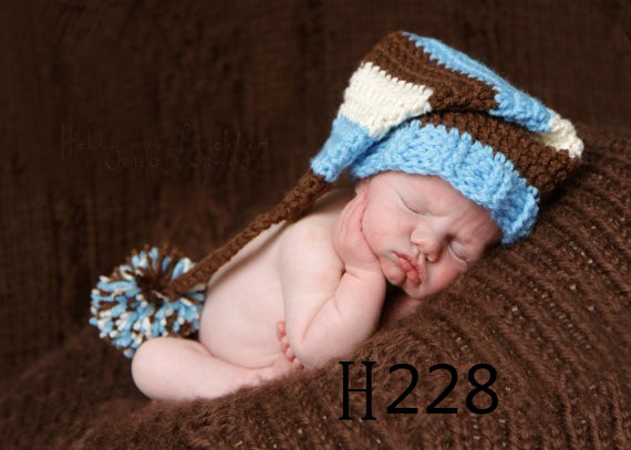 61281a95391 Newborn Baby Boys Girls bonnet crochet baby Caps Hat Custom Crochet Long  Tail Baby Beanie Hat detskaya shapka
