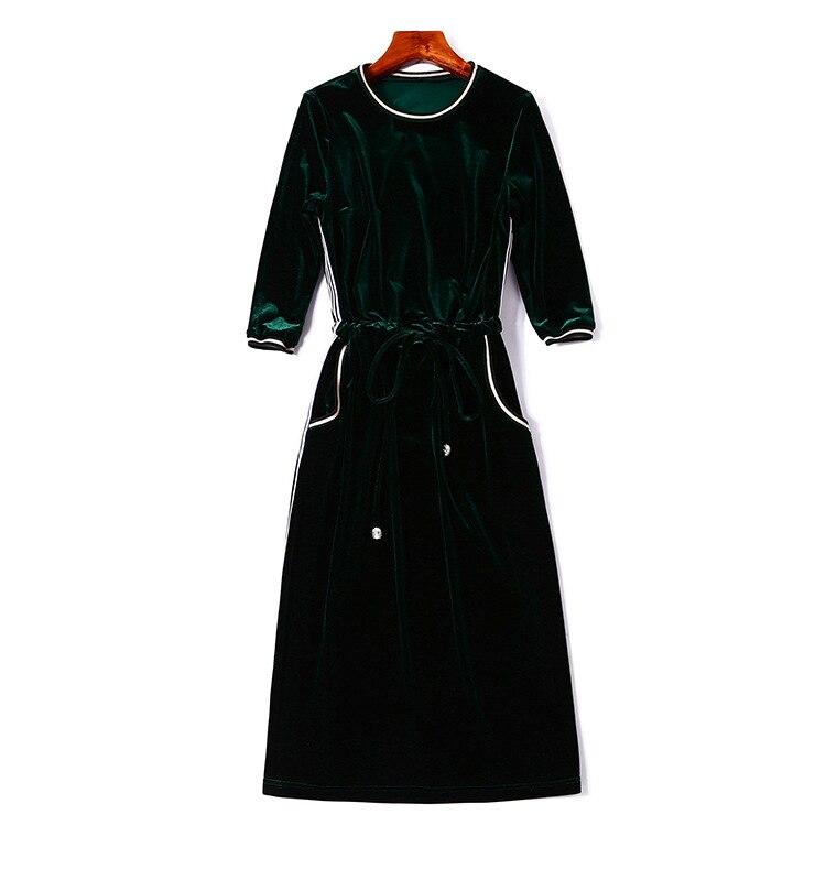 3 Velours 2019 Bleu Automne Parti Genou Printemps Robe cou Robes américain Crayon marine Femmes 4 longueur Q315 O Nouvelles Dames Manches Europe Vert AA7rI