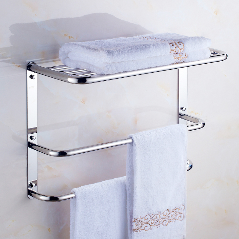 Modern Silver Senior 304 Stainless Steel Bathroom Shelf 3-layer Polished Chrome Towel Holder Bathroom Products Accessories tg2 304 stainless steel 280 140 500mm bathroom shelf bathroom products bathroom accessories 29016