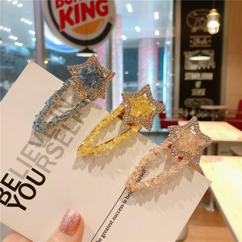 Korea Handmade Fresh Crystal Star Rhinestone Women Girls Barrettes BB Hairpins Hair clips Head Wear Accessories-JQAWHRP057C5