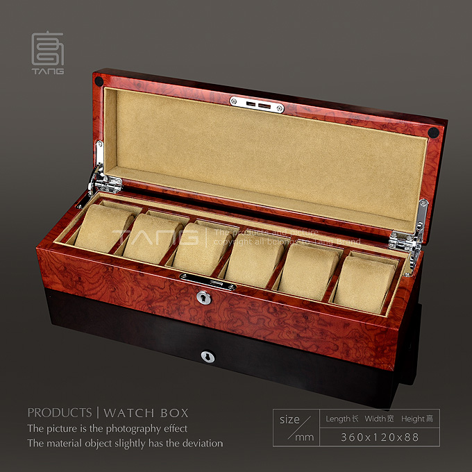 Top Wooden Brand Watch Box Fashion Piano Red Watch Storage Case With Key Watch And Jewelry Gift Cases Men's Luxury Box W064-100 ebaycoco jewelry women box red 20 bit box red light double drawer ladies makeup box for watch accessories and other items