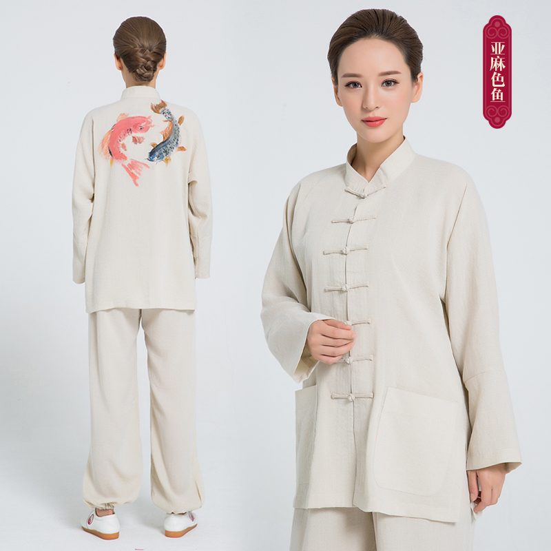 2018 New Product Tai Chi Clothing Uniform Hand Painted Tai Chi Clothing Kung Fu Clothes White Woman And Men 9 Colors