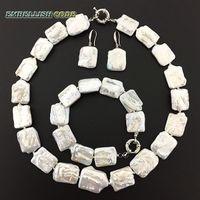 NEW kind pearl keishi necklace bracelet hook dangle earrings set white color real freshwater pearls big size Rectangle shape