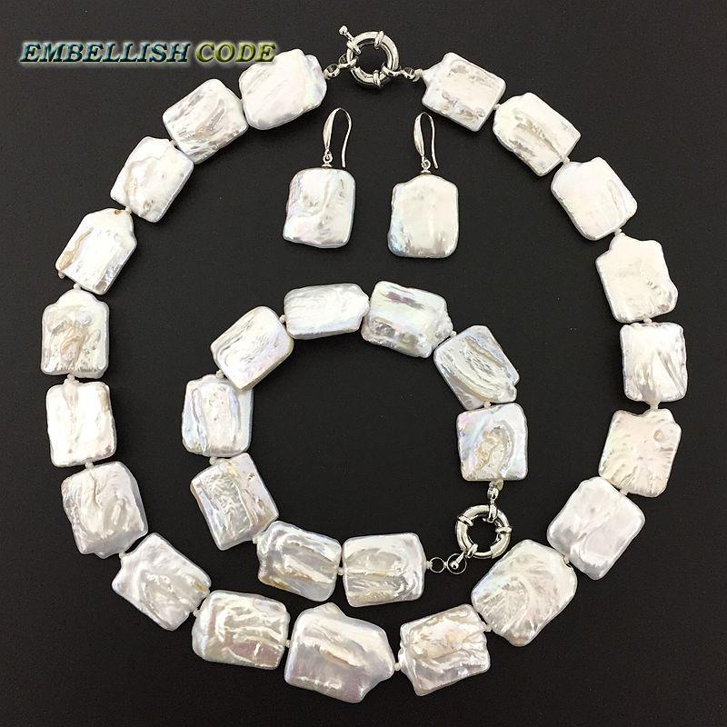 Nouveau genre perle keishi collier bracelet crochet dangle boucles d'oreilles ensemble blanc couleur réelle perles d'eau douce grande taille Rectangle forme