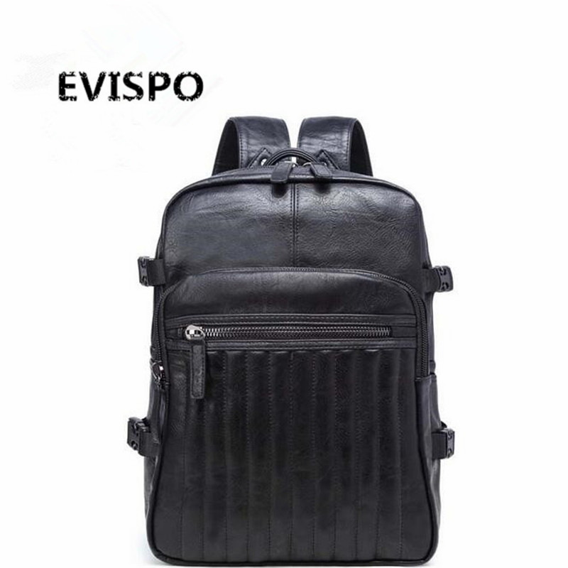ФОТО EVISPO New Arrival Men Backpacks High Grade PU Leather Fashion Travel Bags Scientific Carrying System Backpack Mochila Zip