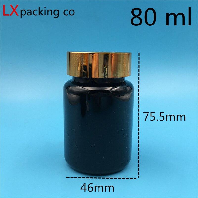 50 stücke 80 ml schwarz kunststoff flaschen goldenen deckel Dunkelheit creme kapsel container bank lagerung kostenloser versand-in Nachfüllbare Flaschen aus Haar & Kosmetik bei  Gruppe 1
