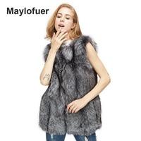 Maylofuer Real Silver Gray Fox Fur Vest Genuine Wholeskin Fox Fur Vests Leather Women Fur Gilet Waistcoat Full Pelt Fur Coats