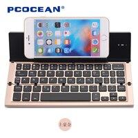 Pcocean Vouwen Mini Slanke Aluminium 3.0 Draadloze Bluetooth Reizen Toetsenbord voor Android IOS Windows System Tablet Laptop PC iPad