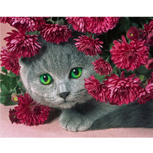 Cat flower diy diamond painting cats full round Couple daimond embroidery