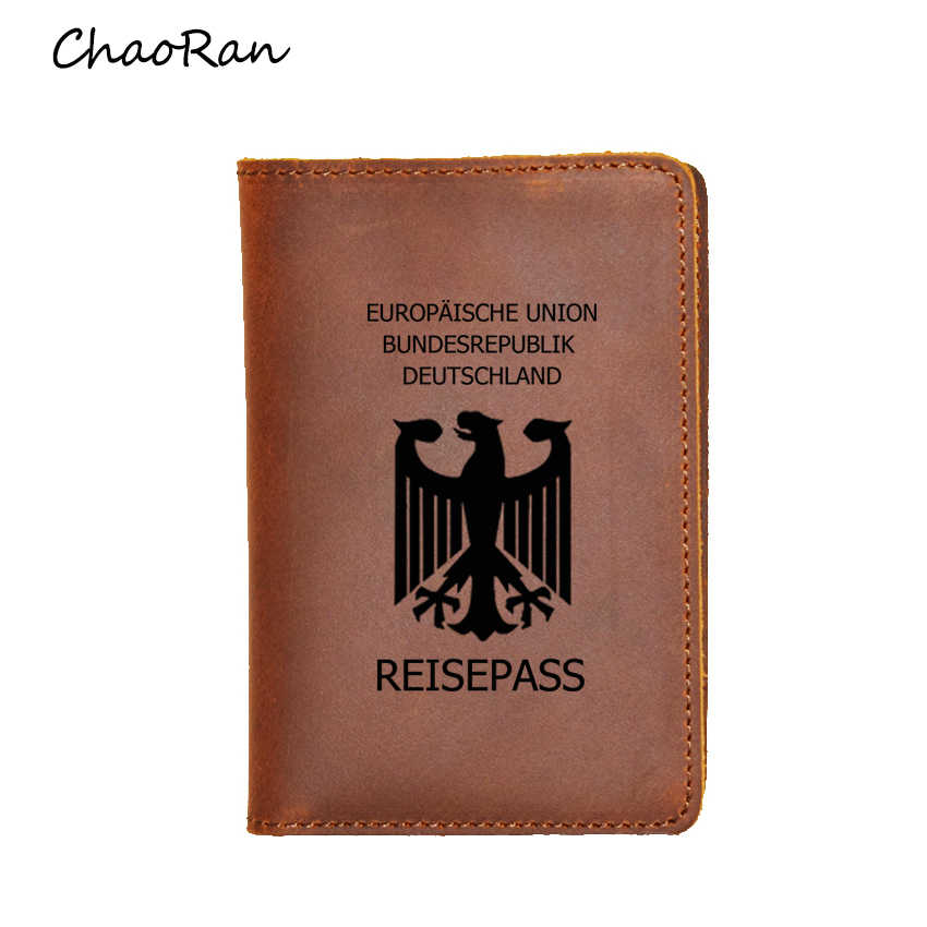 Fashion Women Passport Cover Luxury Leather Travel Wallet Credit Card organizer ID Holder Engraved Germany Passport Holders