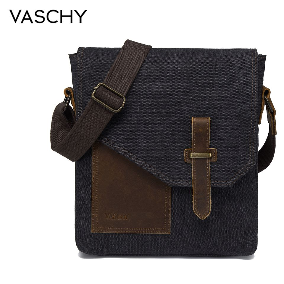 VASCHY Lightweight Irregular Men's Small Messenger Bag Vintage Cowhide Leather Water Resistant Canvas Crossbody Shoulder Bags