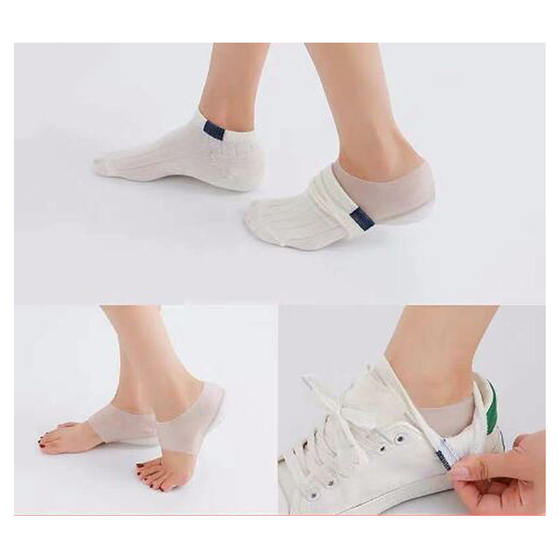 Image 3 - Unisex Invisible height increase socks heel pads insoles silicone  foot massage Adjustable Hard Wearing Insoles 2/3/4cm a pair-in Foot Care Tool from Beauty & Health