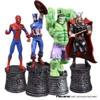 Marvel мстители супергерой шахматы Халк паук Капитан Америка Тор ПВХ фигурку Коллекционная модель игрушки 4 шт./лот hrfg463