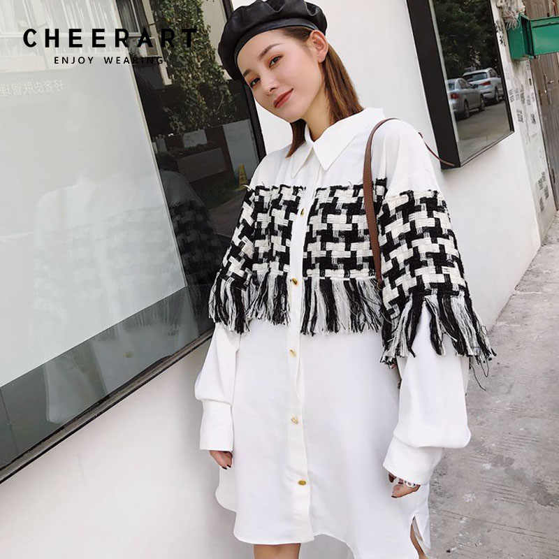 bf82561abf13f3 Cheerart Streetwear White Shirt Dress Patchwork Houndstooth Tassel Plus  Size Loose Designer Gold Button Mini Dress