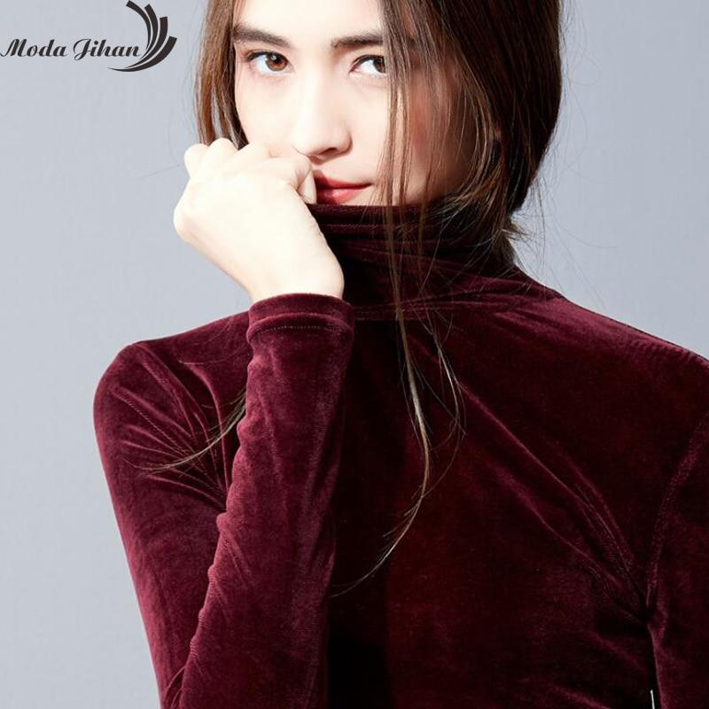 Moda Jihan otoño mujeres Camisas manga larga Bottoming camisas terciopelo cuello alto cómodo y elástico básico Ladey camisetas Blusas