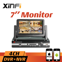 Xinfi New 7 LCD Monitor CCTV 4CH HVR 1080P Recorder HDMI Output AHD DVR 4 Channel