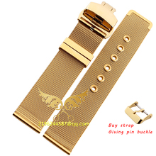 Nueva Lug Width16mm18mm 20 mm 22 mm oro de malla sólida pesada de acero inoxidable correa de reloj reloj de guijarros elegante mariposa doble hebilla