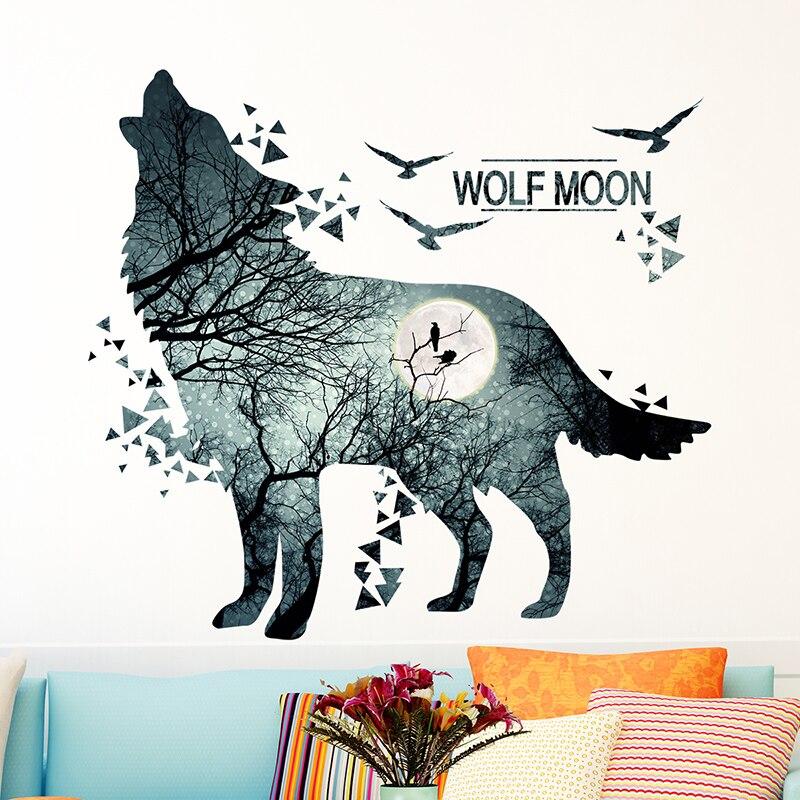 [SHIJUEHEZI] Félelmetes Farkas Hold Erdei Falimatrica PVC DIY Állati falfestmények a nappaliban Kollégiumi hálószoba dekoráció