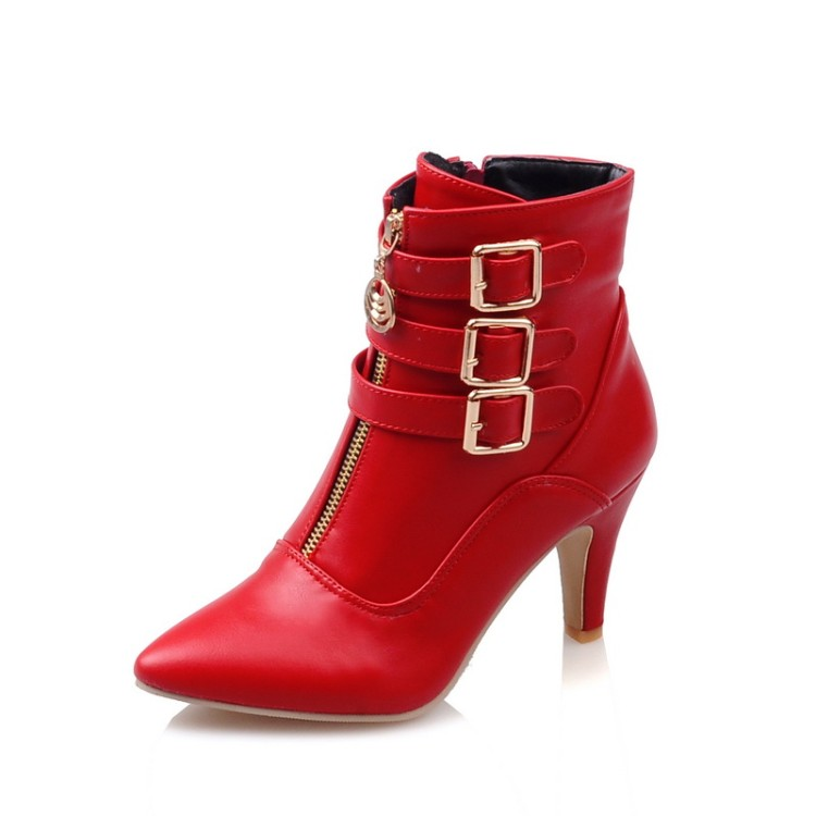 Big size 32-45 Autumn winter style ankle women woman ankle boots pointed toe high heels short boots Wholesale and retail 9-8 2016 women knee high boots leather winter boots pointed toe zip casual shoes women high heels big size 32 45 black boots woman
