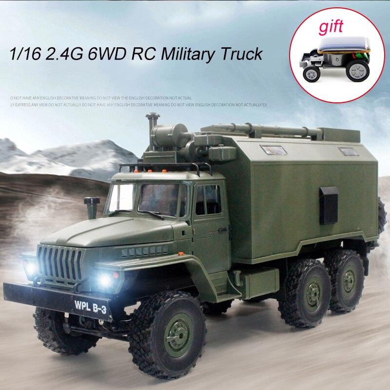 1/16 2.4G 6WD RC voiture militaire camion roche chenille commandement armée camion hors route télécommande radiocommandée voitures jouets