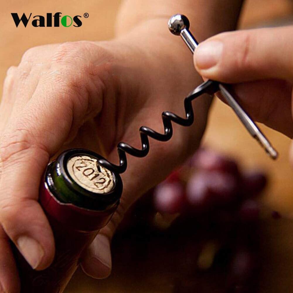 WALFOS  Creative Multifunctional Mini Outdoor Stainless Steel Corkscrew Wine Bottle Opener With Ring Keychain Bottle Opener