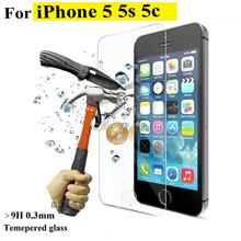 High quality 2014 New For iPhone 5 / 5S Premium Tempered Glass Screen Protector HD Toughened Protective Film Ultra Thin 0.3mm