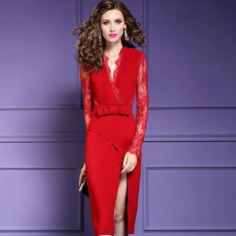 2018 Femmes rouge La Taille Mince Plus Partie V Vintage Robes Sexy Noir Robe Arc Noël Cou Dentelle De Bifurquer Hiver Nouvelles Automne Bureau Dame gmIf76byvY