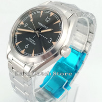 41 MM Corgeut Sliver Strap black dial cristal de Safira Automáticas mens Watch 2865