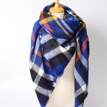 2016 New Arrival Winter Fashion Women Deep blue Brand ZA Design Plaid Mix Color Tassels square Thick Cashmere Scarf 140*140cm