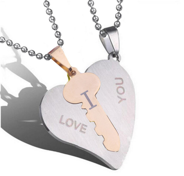 a862f91279 I Love You Couple Necklaces Set Lock Key Matching Heart Stainless Steel  Pendant Necklace for Couples