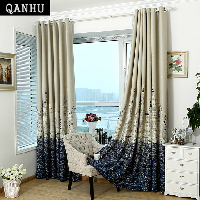 Qanhu Curtains Modern Minimalist White Blue For Bedroom New 2018 Hight Quality Poly100 Polyester Home Curtain Salon Rideau