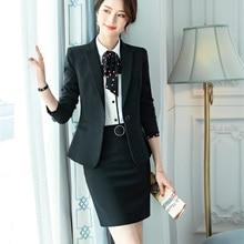 Высокое качество волокна формальный черный блейзер для женщин бизнес деловой костюм юбка и куртка наборы дамы офисная форма стиль