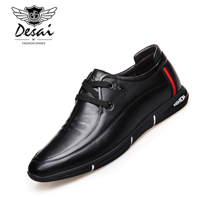 DESAI العلامة التجارية حقيقية أحذية من الجلد رجل الأعمال عارضة أحذية الدانتيل البريطانية موضة اللباس أحذية حجم 38 44-في حذاء أوكسفورد من أحذية على  مجموعة 1