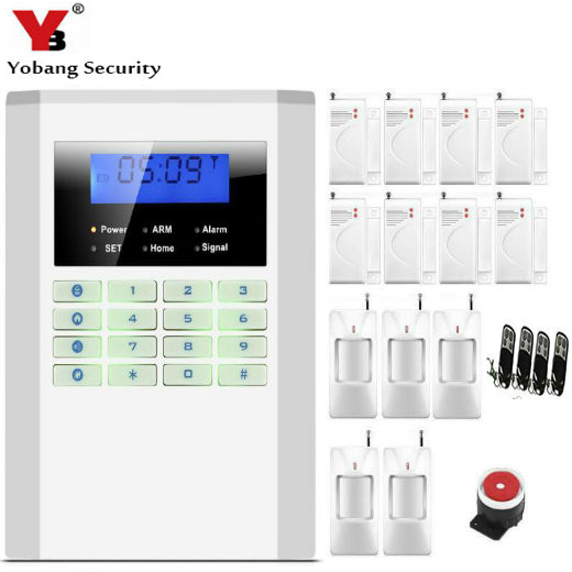 YobangSecurity 433Mhz Remote Control LCD Screen Keyboard Home Protection Wireless GSM PSTN GSM Alarm System Russian Spanish lcd screen 433mhz remote control wireless gsm sms call pstn phone line dual network home security gsm alarm system