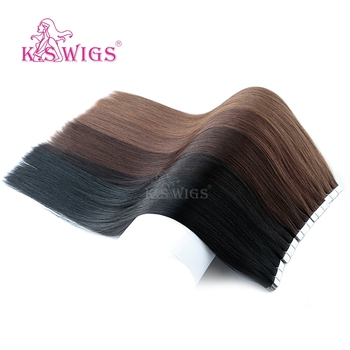K.S WIGS 80pcs/pack Remy Tape In Human Hair Double Drawn Straight Seamless Skin Weft Hair Extensions  16'' 20'' 24'' k s wigs 80pcs pack remy human hair double drawn straight luxury skin weft tape on hair extensions