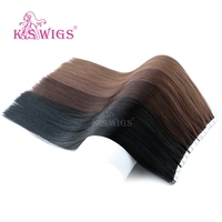 K.S WIGS 80pcs/pack Remy Tape In Human Hair Double Drawn Straight Seamless Skin Weft Hair Extensions 16'' 20'' 24''