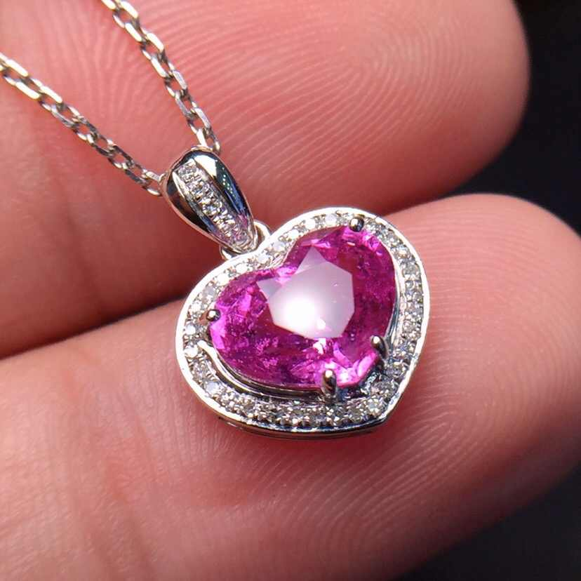 Fine Jewelry Customized Size Real 18K White Gold AU750 100% Natural Pink Sapphire 1.71ct Gemstones Pendants for Women Necklace